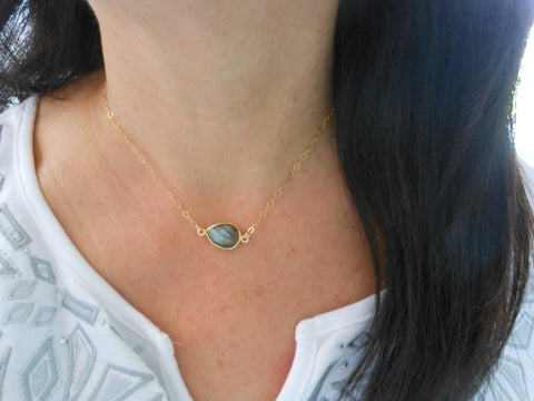 Gold Labradorite Choker Necklace