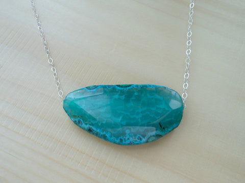 Bold Agate Necklace, Green Agate Druzy Slab, Sterling Silver