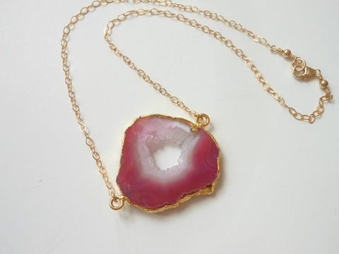 Gorgeous Natural Gold Geode Necklace, Statement Necklace