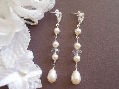 Pearl Wedding Earrings, Swarovski Crystal, Sterling Silver