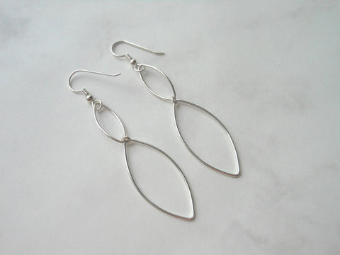 Sterling Silver Dangle Earrings, Geometric Design