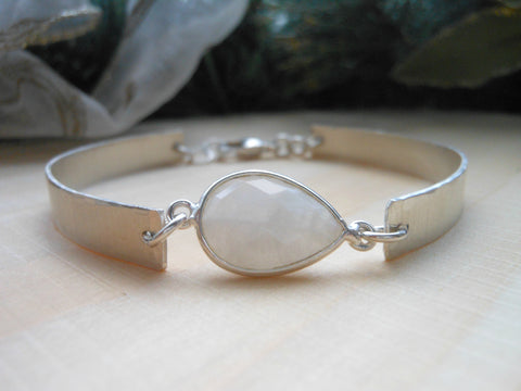 Sterling Silver Bangle Cuff Bracelet with Moonstone, Original Design