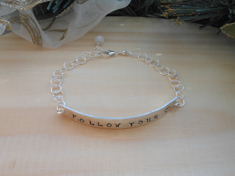 Follow Your Heart Bracelet, Sterling Silver Bar Bracelet
