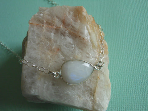 Moonstone Choker, Sterling Silver Moonstone Necklace, Layering Necklace