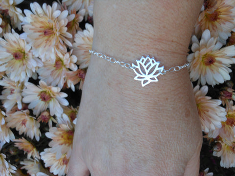 Lotus Flower Bracelet, Yoga Jewelry