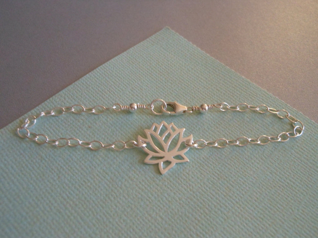Lotus Flower Bracelet, Yoga, Zen, Sterling Silver