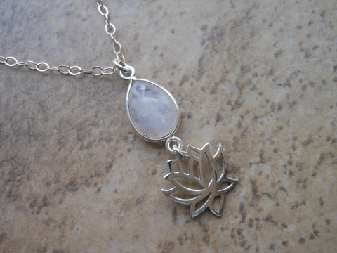 Sterling Silver Lotus Flower Necklace with Moonstone