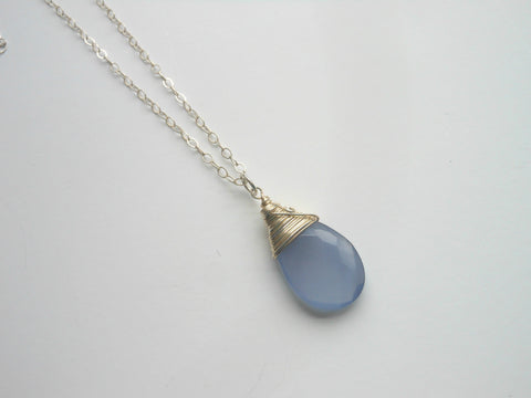 Sterling Silver Blue Chalcedony Necklace