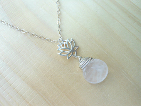 Rose Quartz Lotus Flower Necklace