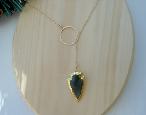 Arrowhead Necklace, Jasper Arrow, Gold Lariat Style Necklace, Boho Style