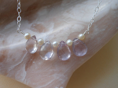 pink amethyst necklace-freshwater pearls necklace