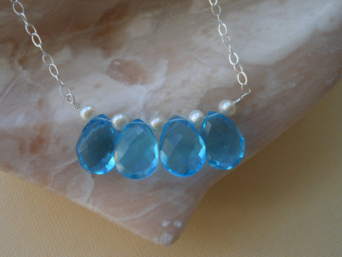 something blue-pearl necklace-bib necklace