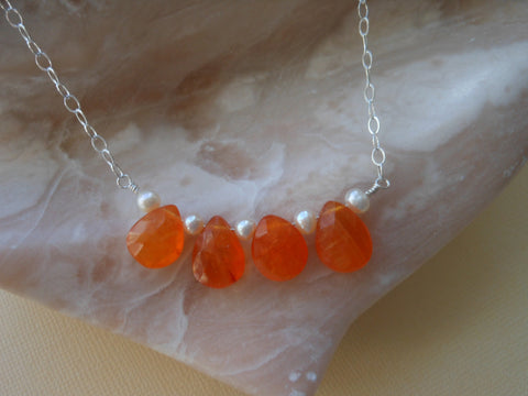 carnelian necklace- pearl cascade necklace-gemstone layering necklace