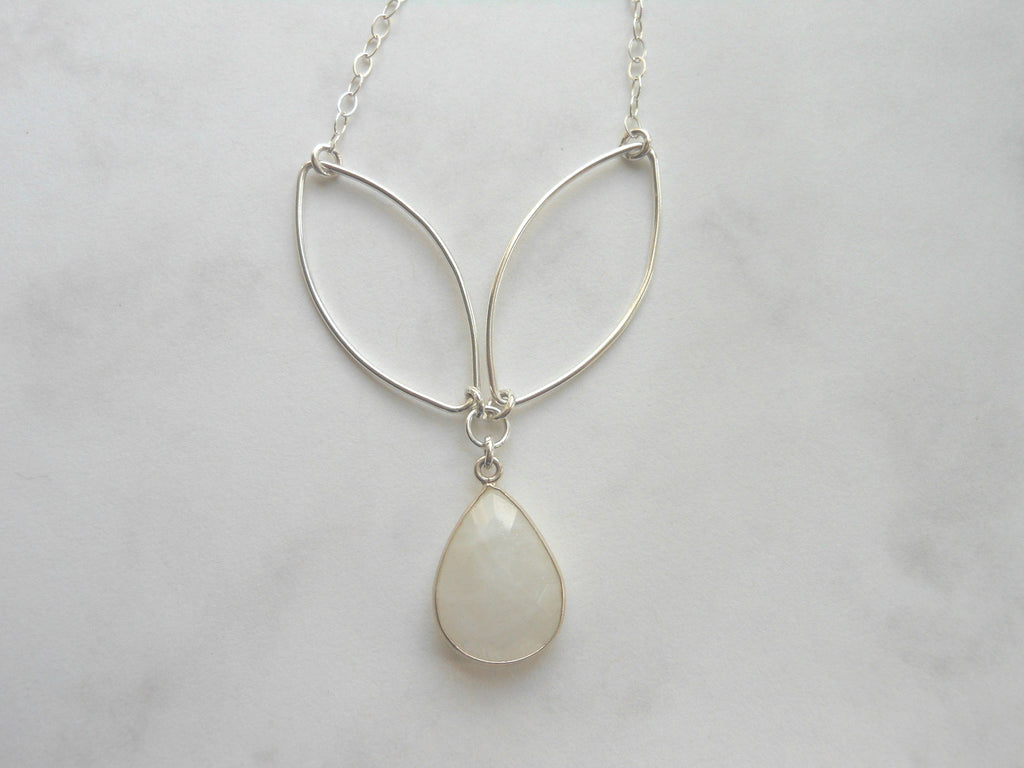 Moonstone and Marquise Necklace in Sterling Silver