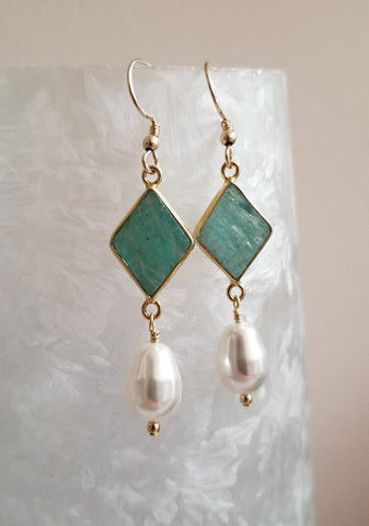 natural Amazonite earrings gold