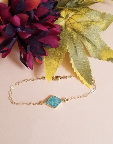Bridesmaid Jewelry Gift, Amazonite Gold Bracelet