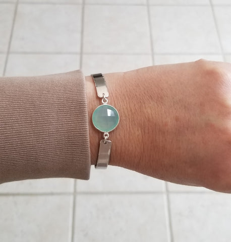 Boho Bangle Bracelet with Aqua Chalcedony Stone, Metal Bangle Cuff