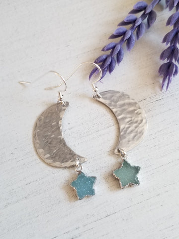 Hammered Moon Earrings with Stars, Handmade Jewelry in the USA