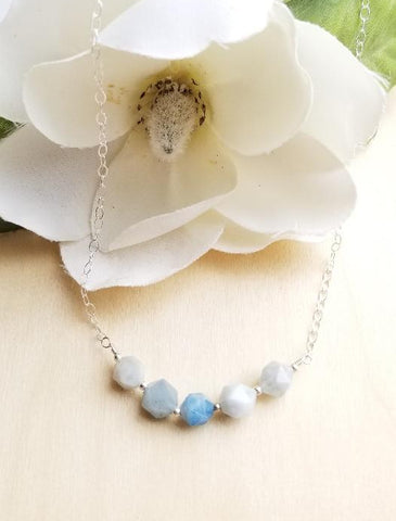 dainty silver necklace, row of aquamarine gemstone beads, simple layering necklace
