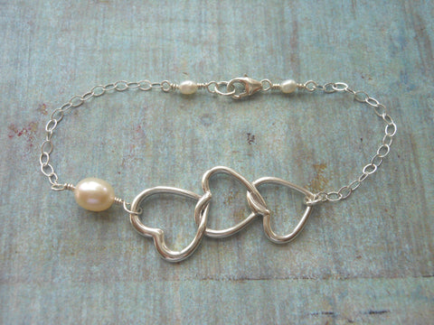 Maid of Honor gift-silver heart bracelet