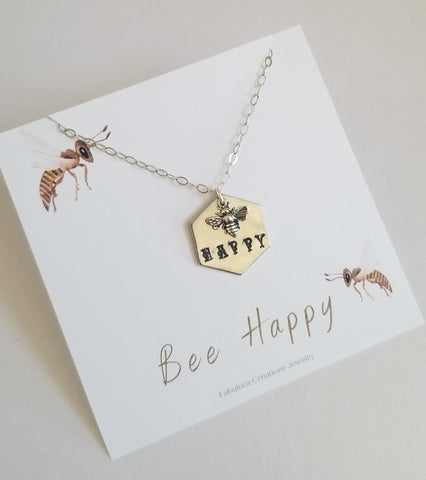 Silver Bee Necklace, Custom Stamped Necklace made in the USA