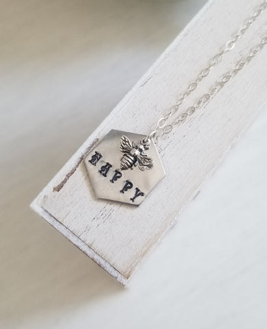 Hand Stamped Bee Happy Necklace, Gift for Her