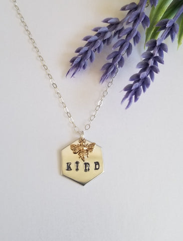 Cute Bee Necklace, Bee Kind Necklace, Bee Jewelry for women
