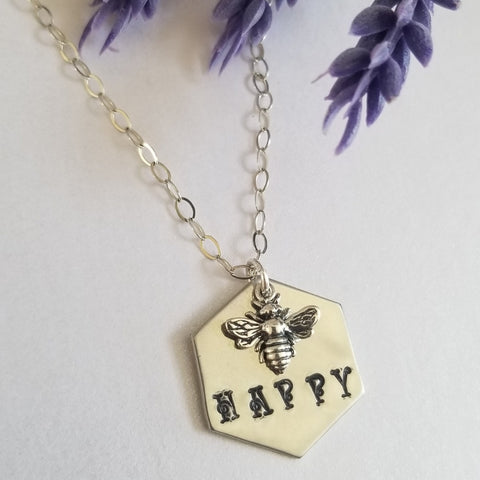 Bee Happy Honeycomb Charm Necklace for Women