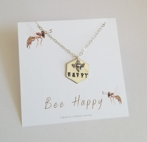 Bee Happy Charm Necklace, Bee Jewelry Handmade in the USA, Fabulous Creations Jewelry