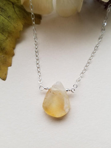 Rough Cut Citrine Crystal Necklace