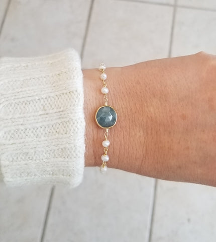 Aquamarine and Pearl Bracelet, Gift for Her, Handmade Jewelry in the USA