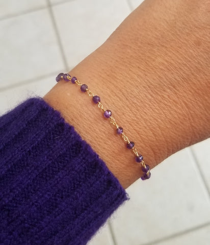 Thin everyday Amethyst bracelet, February birthstone