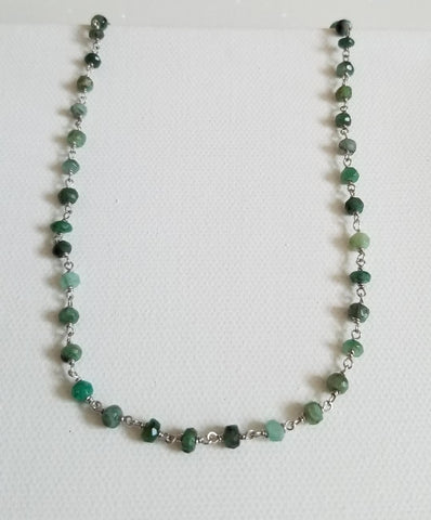 simple layering necklace, emerald chain, beaded choker