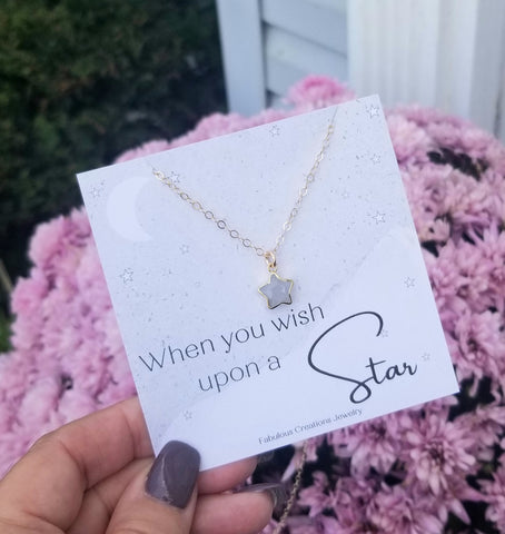 Dainty Gold Moonstone Star Necklace, When You Wish Upon a Star