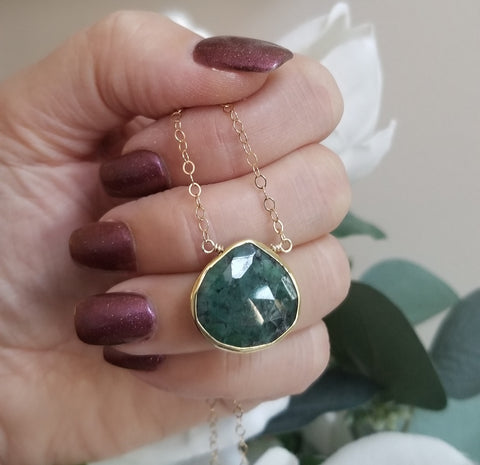 Raw Emerald Necklace, May Birthstone Gift for Women