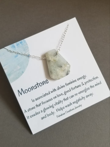 Feminine energy stone necklace, Moonstone necklace for women