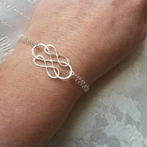 Sterling Silver Infinity Bracelet, Gift for Mom