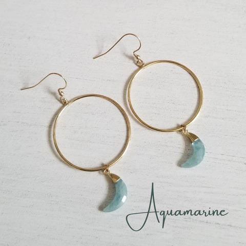 Gold Aquamarine Moon Hoop Earrings
