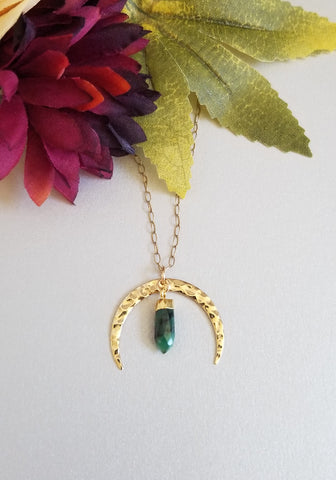 Gold Emerald Moon Pendant Necklace