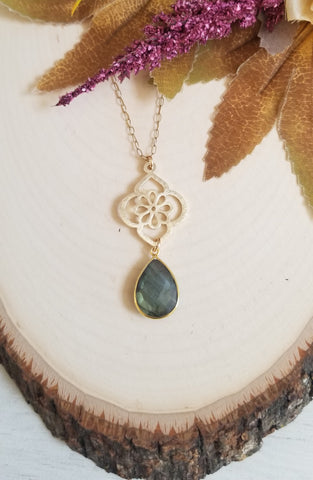 Gold Labradorite Pendant Necklace