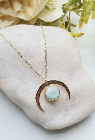 Aquamarine Necklace, March Birthstone, Moon Jewelry