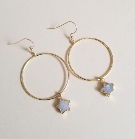 Aquamarine Stars Hoop Earrings, Gift for Her
