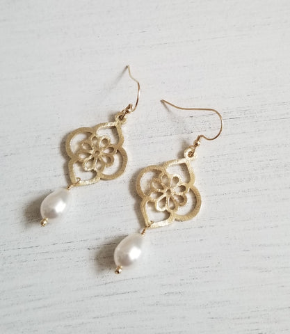 Brushed Gold Flower Design Earrings with teardrop pearls
