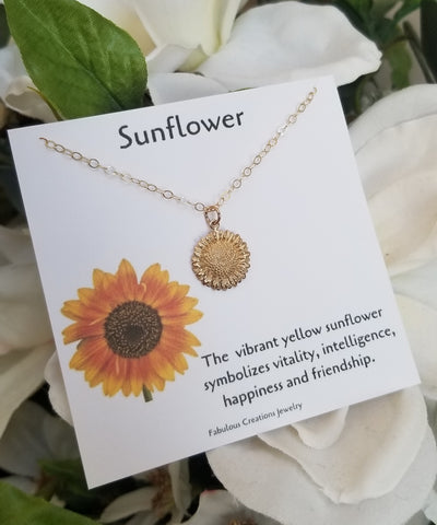 Gold Sunflower Charm Necklace