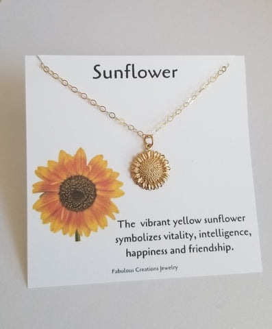 Symbolic Sunflower Charm Necklace for women, Fabulous Creations Jewelry