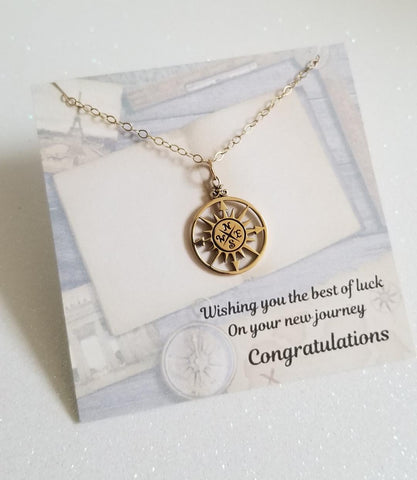 Graduation Gift, Gold Compass Necklace