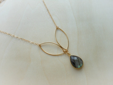 Gold Labradorite Petal Necklace