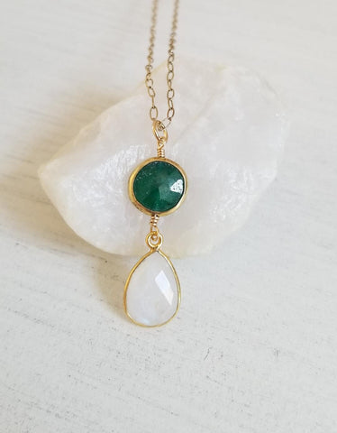 Emerald and Moonstone Pendant Necklace, Gold Filled Chain