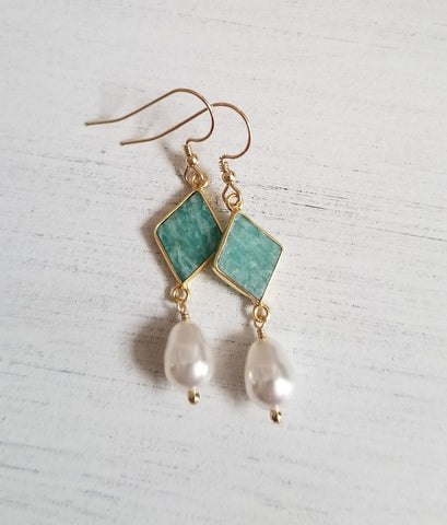 Amazonite and pearl earrings, Mothers Day gift