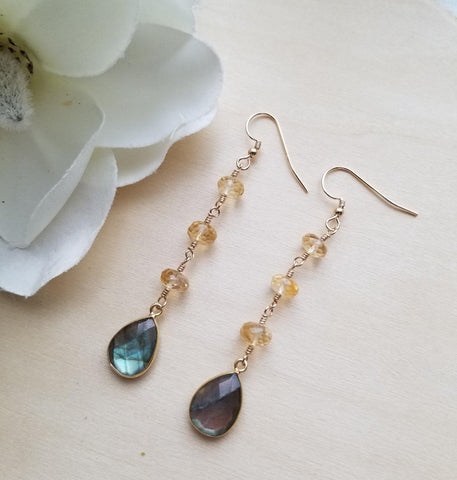 Gold Labradorite and Citrine Earrings